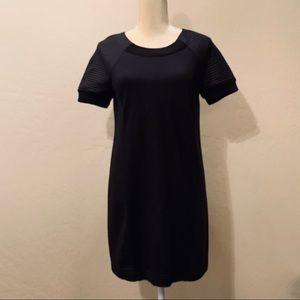 Fabletics black Brenna Dress w/quilted fleece trim